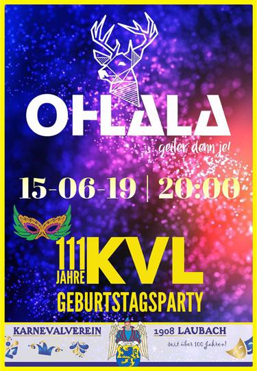 111 Jahre KVL Laubach mit der Partyband OHLALA